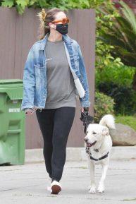 Olivia Wilde - Walks her dog neat her neighborhood in Los Angeles
