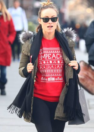Olivia Wilde - Wearing a Red Christmas Sweater Shopping in Soho