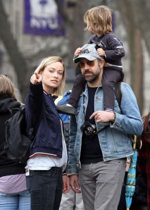 Olivia Wilde with her family on the set of 'Life Itself' in NY