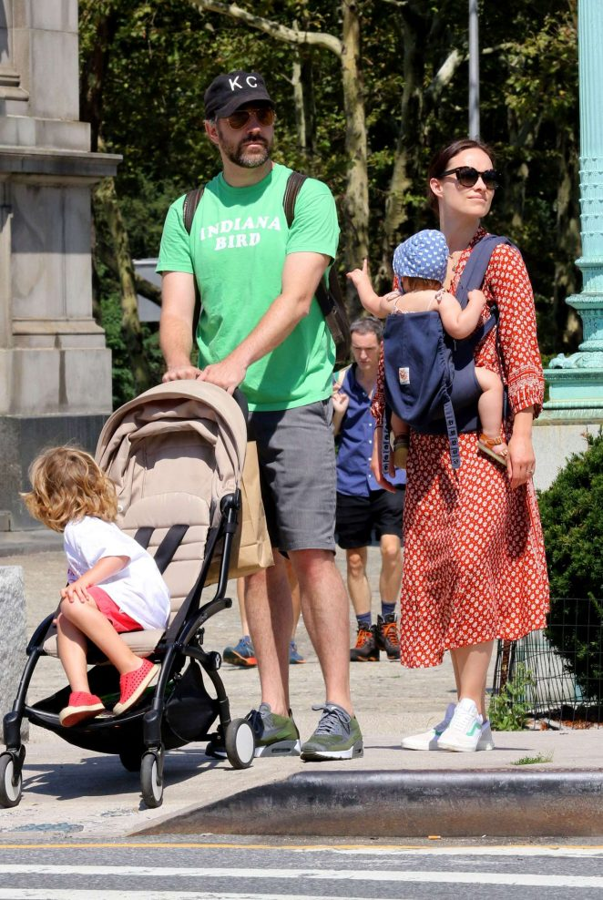 Olivia Wilde with her family out in NYC