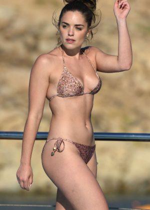 Olympia Valance in skimpy bikini in Mykonos