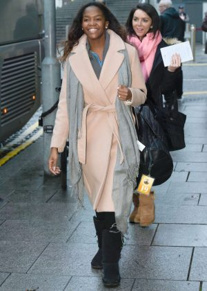 Oti Mabuse in Long Coat out in Birmingham