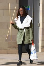 Otlile Mabuse - Arrives for dance rehearsals in Manchester