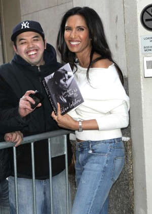 Padma Lakshmi at AOL Build to promote her book in New York