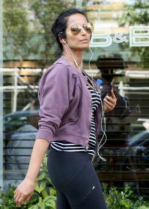 Padma Lakshmi heads to a morning workout session in New York