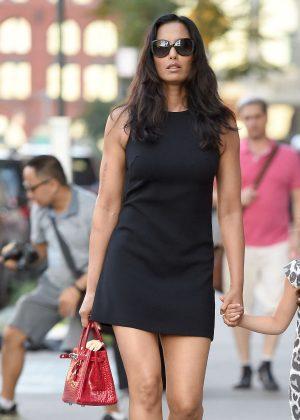 Padma Lakshmi in black mini dress out in New York City