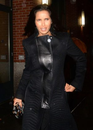 Padma Lakshmi in Black outfit out in New York
