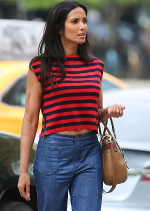 Padma Lakshmi in Jeans out in New York