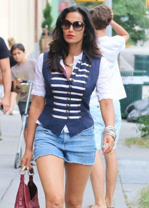 Padma Lakshmi in Jeans Shorts in New York