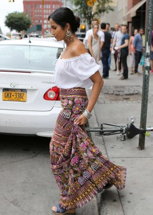 Padma Lakshmi in Long Skirt out in New York