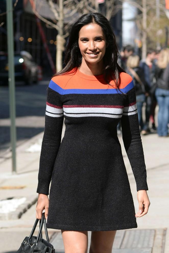 Padma Lakshmi in Mini Dress out in New York