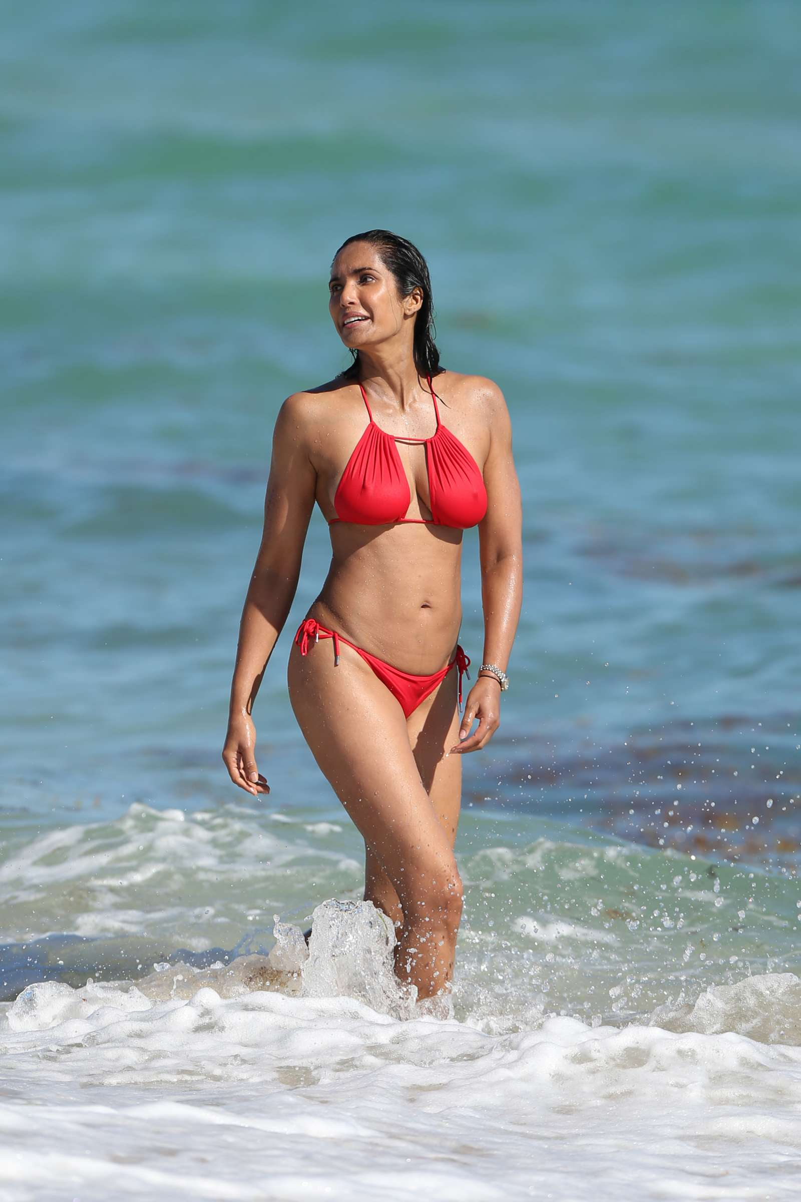 Padma Lakshmi 2019 : Padma Lakshmi in Red Bikini -02