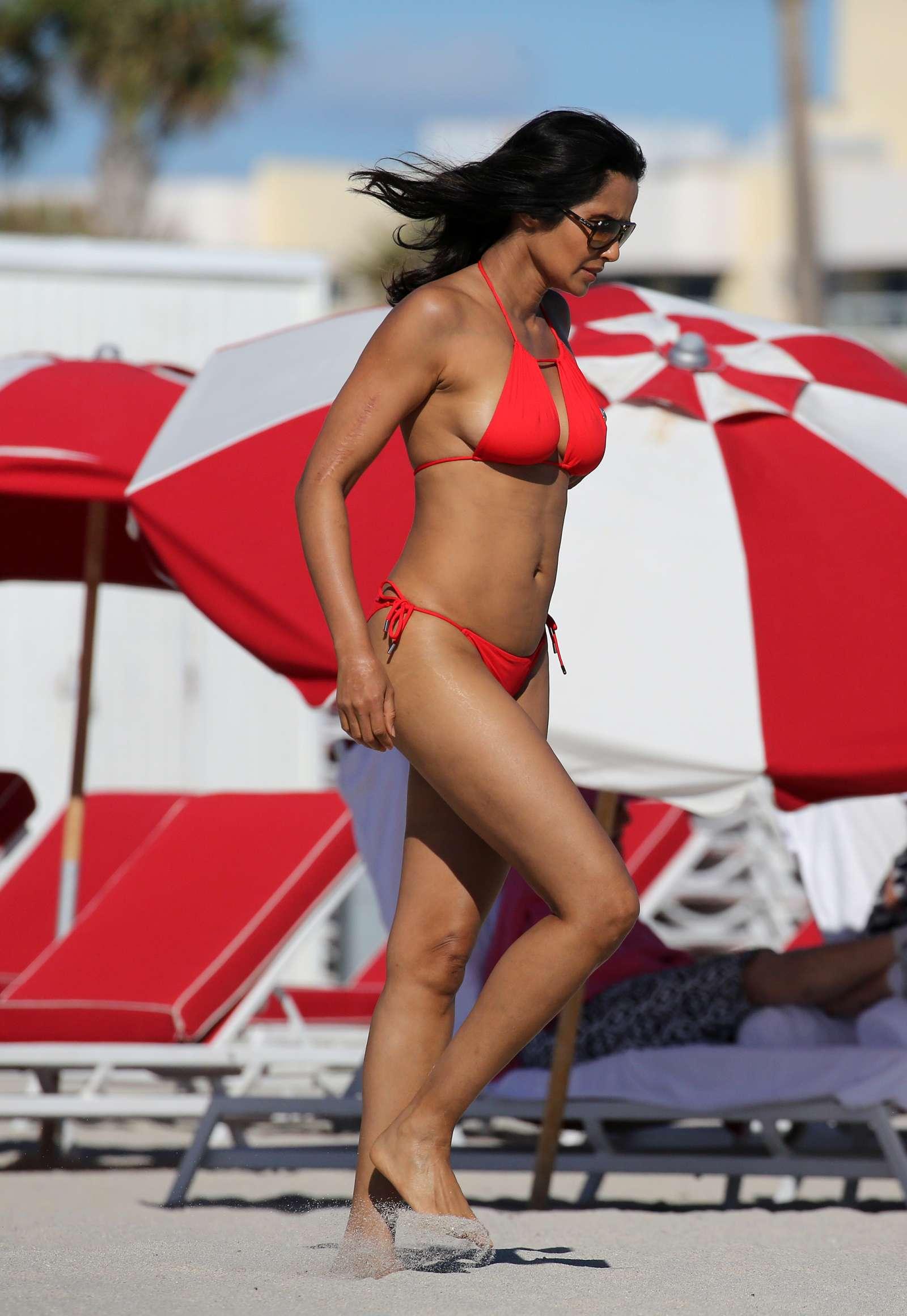 Padma Lakshmi 2019 : Padma Lakshmi in Red Bikini -03