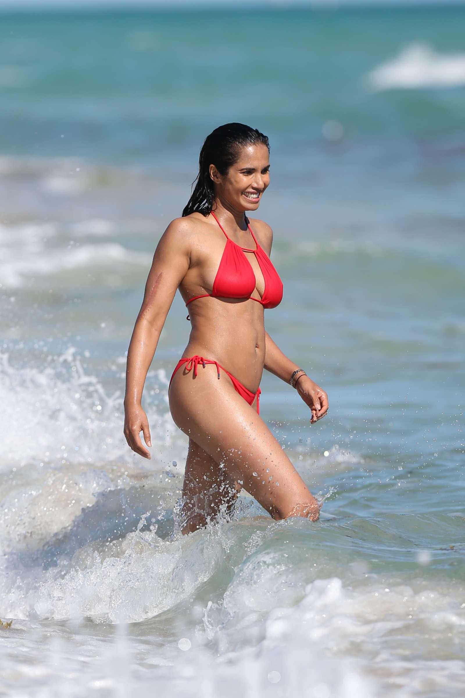 Padma Lakshmi 2019 : Padma Lakshmi in Red Bikini -04