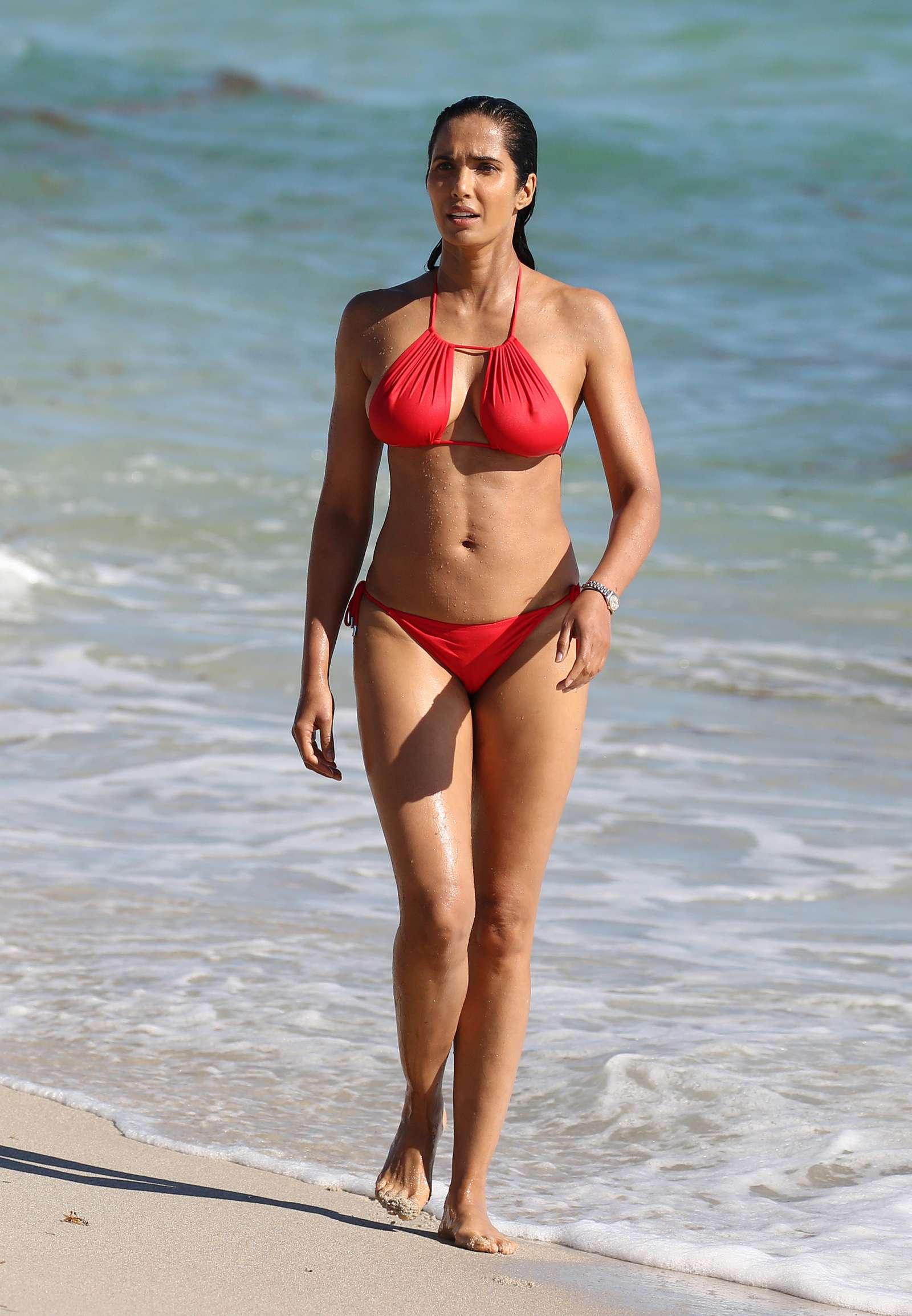 Padma Lakshmi 2019 : Padma Lakshmi in Red Bikini -09