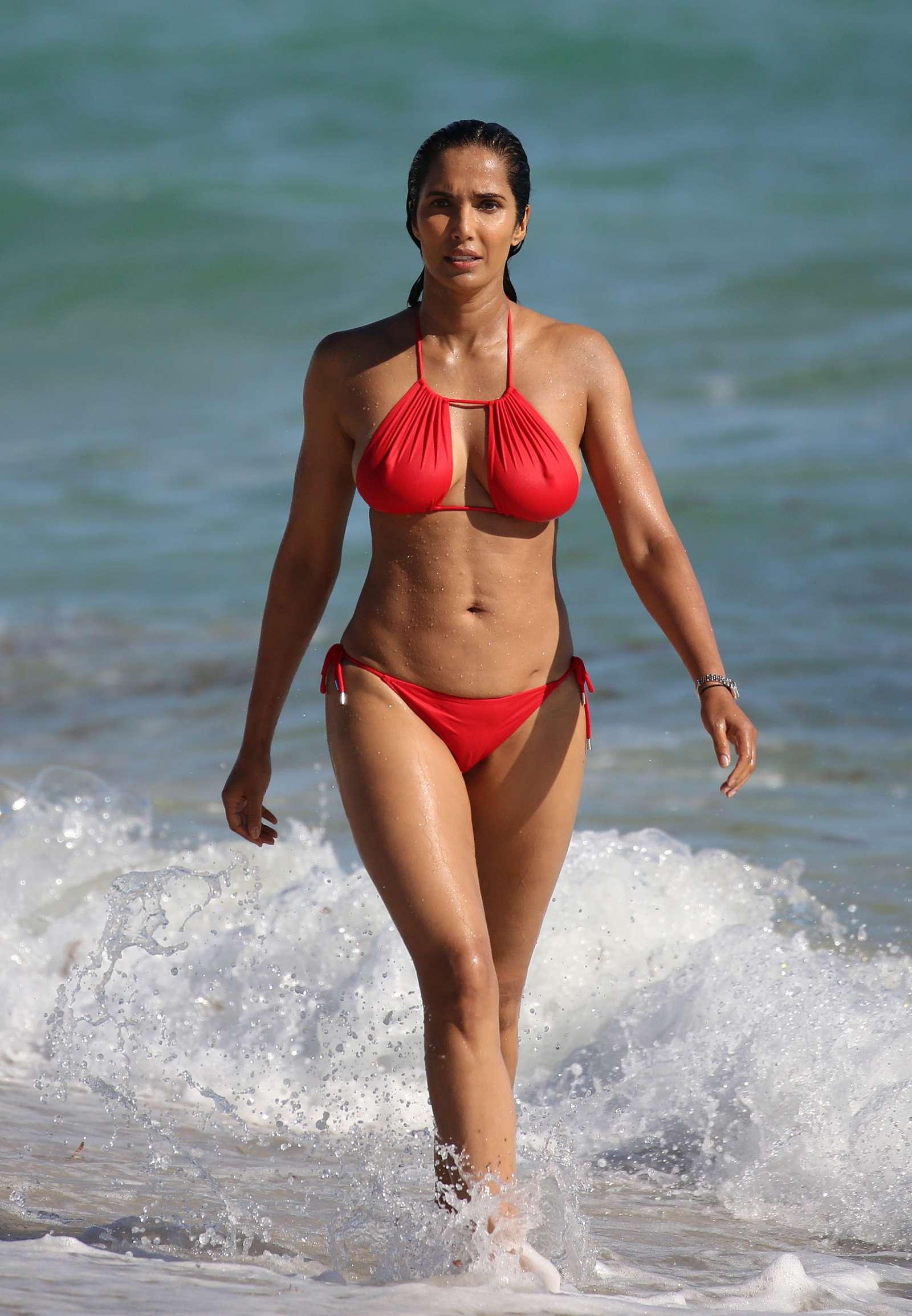 Padma Lakshmi 2019 : Padma Lakshmi in Red Bikini -12