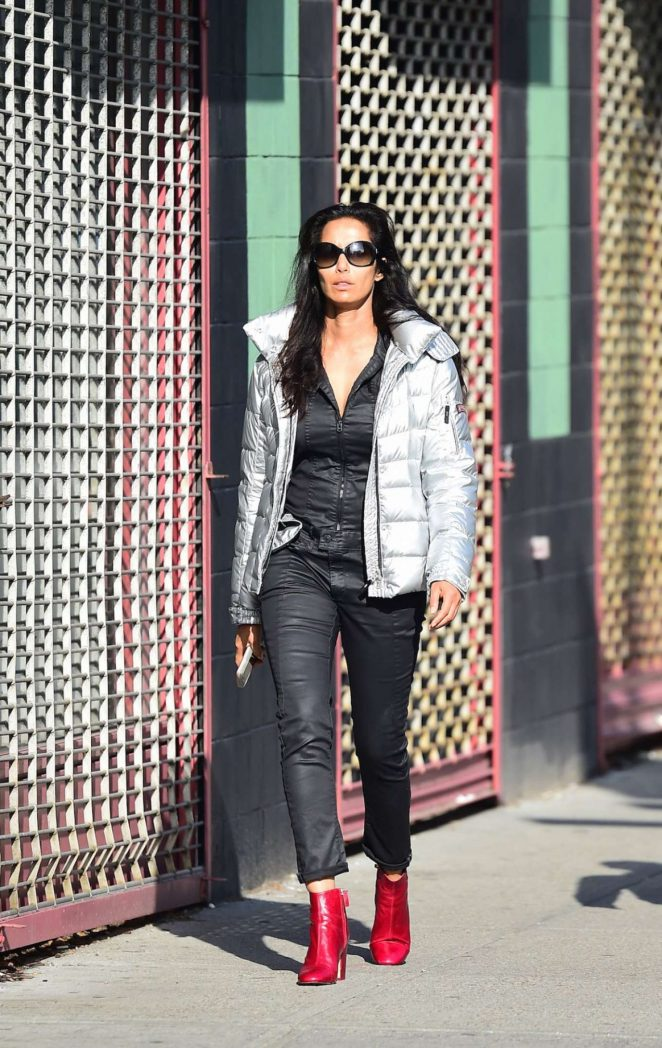 Padma Lakshmi in Red Boots Out in New York
