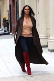 Padma Lakshmi in Red High Boots - Out in NYC