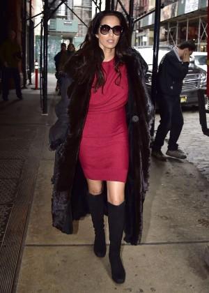Padma Lakshmi in red mini dress out in New York