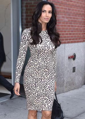 Padma Lakshmi in Tight Dress Leaving her apartment in NYC