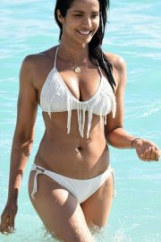 Padma Lakshmi in White Bikini on the beach in Miami