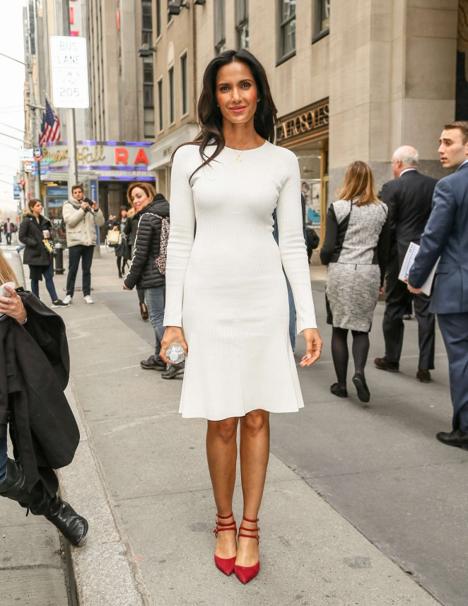 Padma Lakshmi in White Dress out in New York