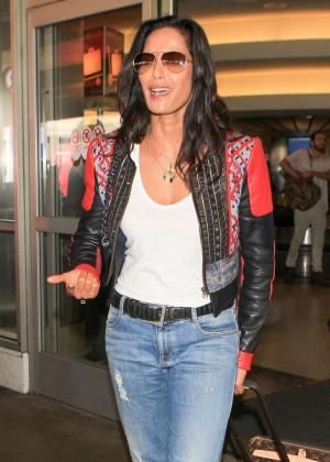 Padma Lakshmi in Jeans at LAX Airport in LA