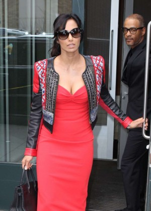Padma Lakshmi in Red Tight Dress Leaves her Apartment in NY