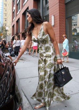 Padma Lakshmi in Long Dress Out in New York