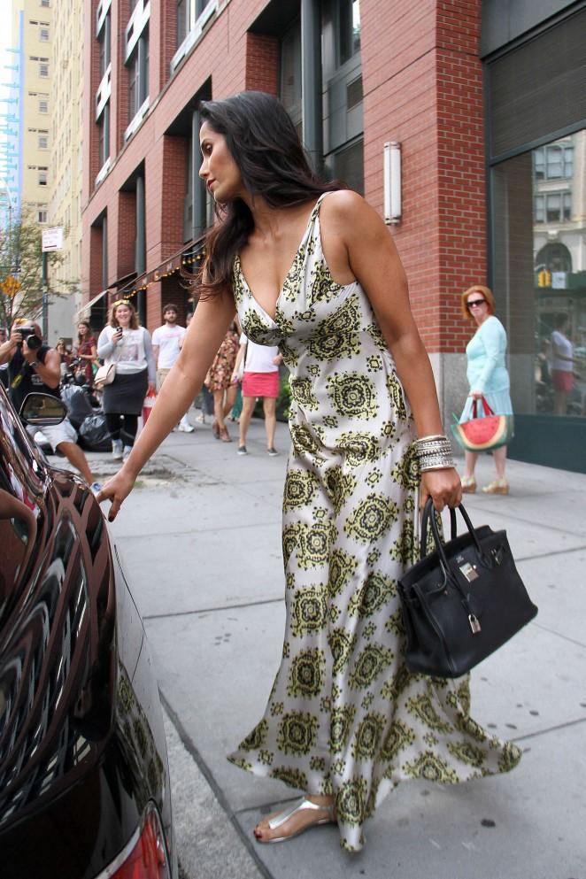 Padma Lakshmi in Long Dress Out in New York