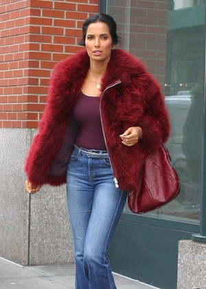 Padma Lakshmi in Jeans Out in NYC