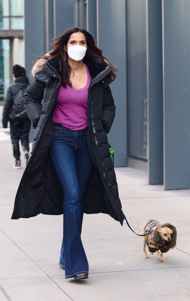 Padma Lakshmi - Out with her dog Divina in Manhattan