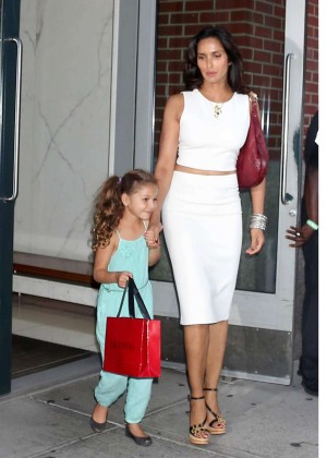 Padma Lakshmi With Daughter Krishna out in NYC