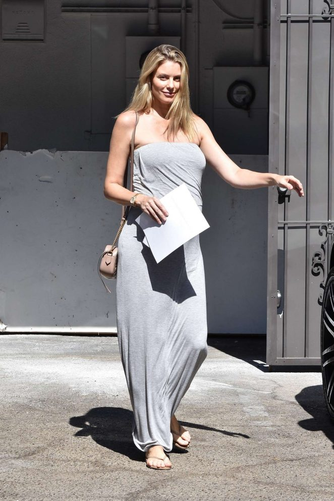 Paige Butcher in Gray Strapless Dress - Out in LA
