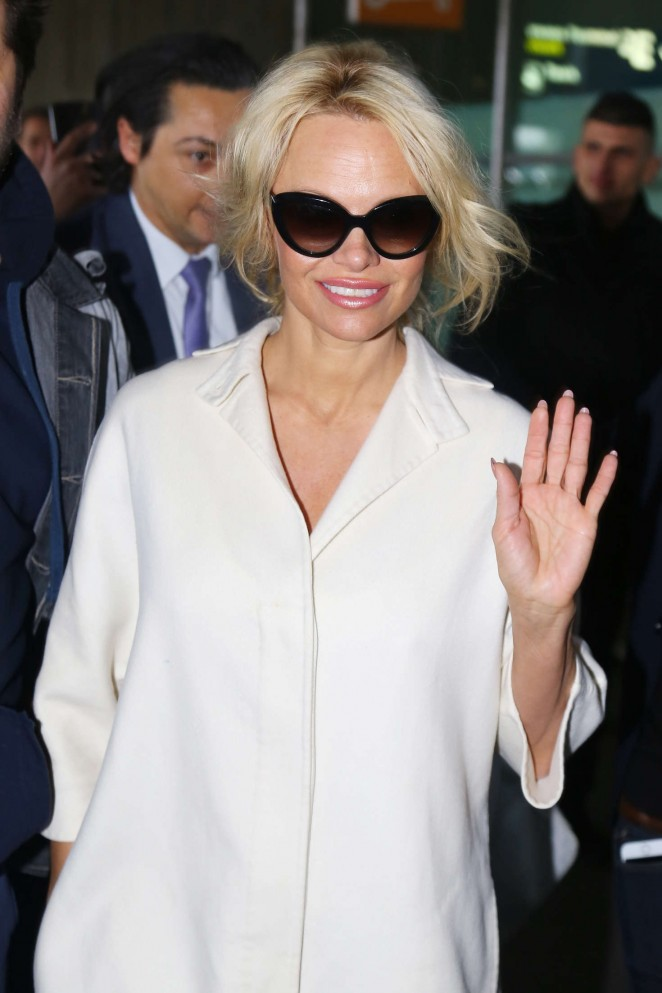Pamela Anderson Arriving at Roissy CDG Airport in Paris