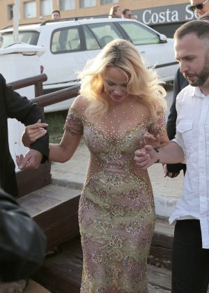 Pamela Anderson at the opening of Playa Padre in Marbella