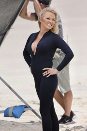 Pamela Anderson - Films Ultra Tune TV ad on Gold Coast Beach in Queensland