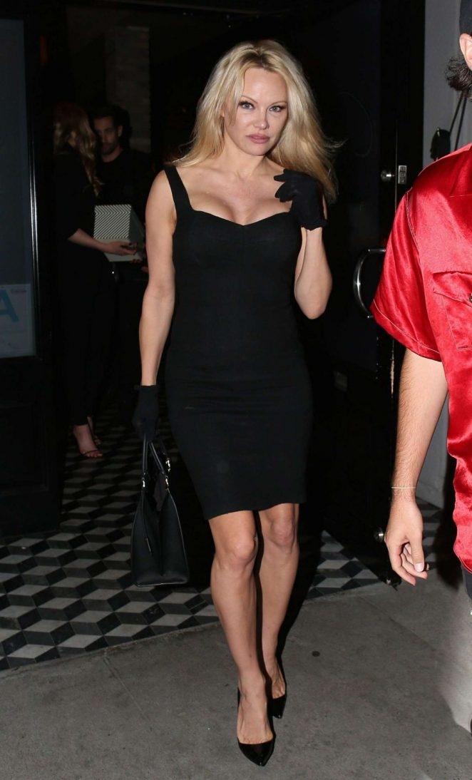Pamela Anderson in Black Dress at Craig's restaurant in West Hollywood