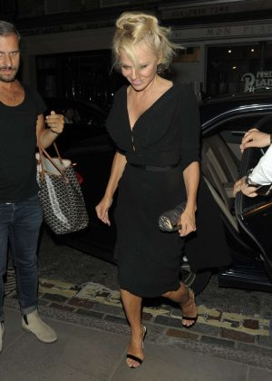 Pamela Anderson in Black Dress Leaves Ivy Restaurant in London