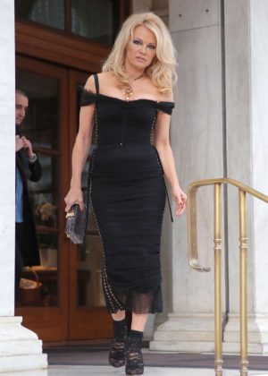 Pamela Anderson in Black Dress - Out in Athens