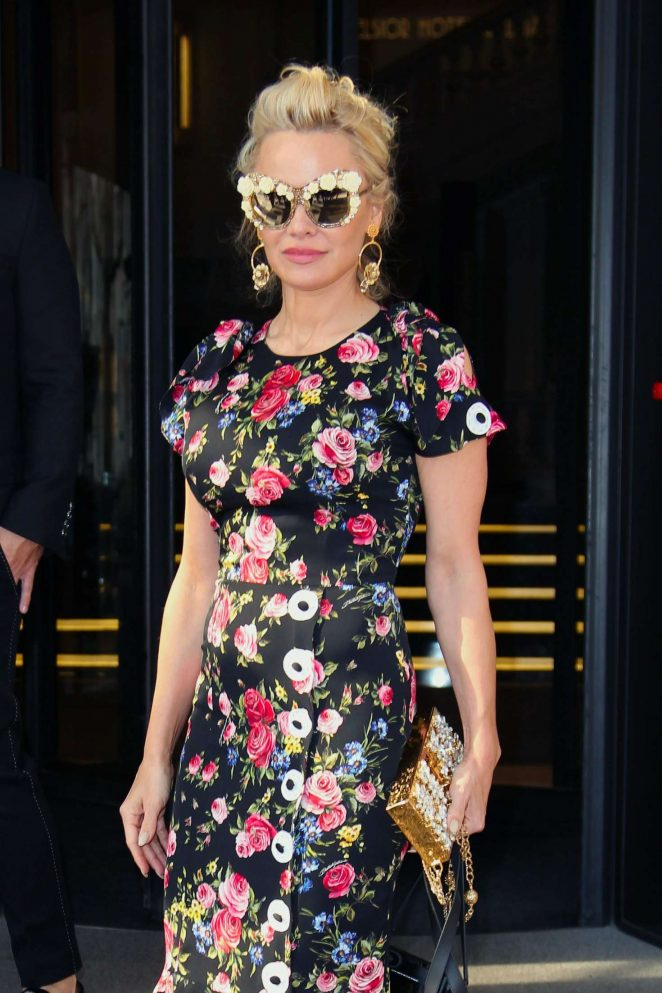 Pamela Anderson in Floral Dress out in Milan