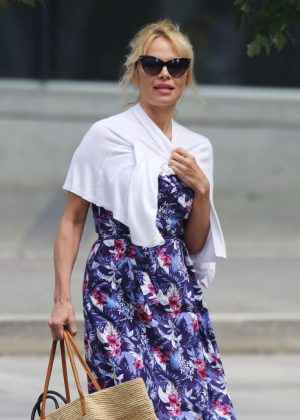 Pamela Anderson in Floral Dress out in Vancouver