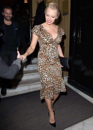 Pamela Anderson in Leopard Print Dress Leaves Costes Hotel in Paris