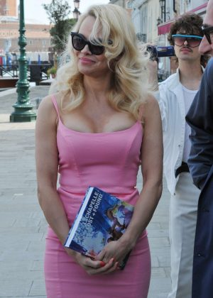 Pamela Anderson in Pink Dress Out in Venice