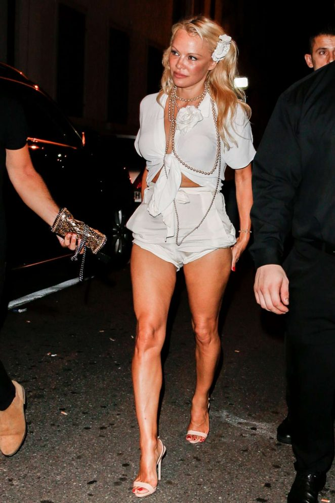 Pamela Anderson in Shorts Out in St. Gallen
