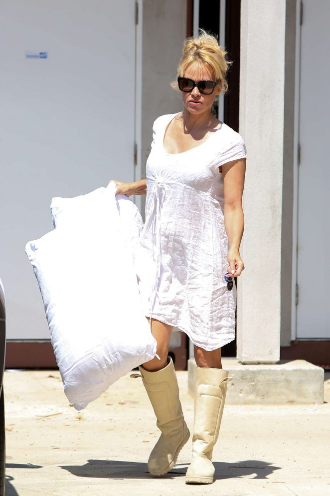 Pamela Anderson in White Dress out in Malibu