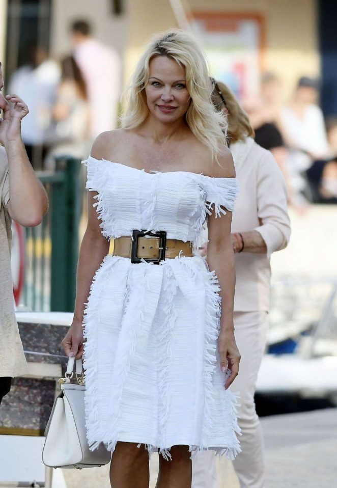 Pamela Anderson in White Dress Out in Saint Tropez