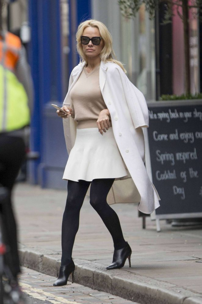 Pamela Anderson in White Skirt out in London