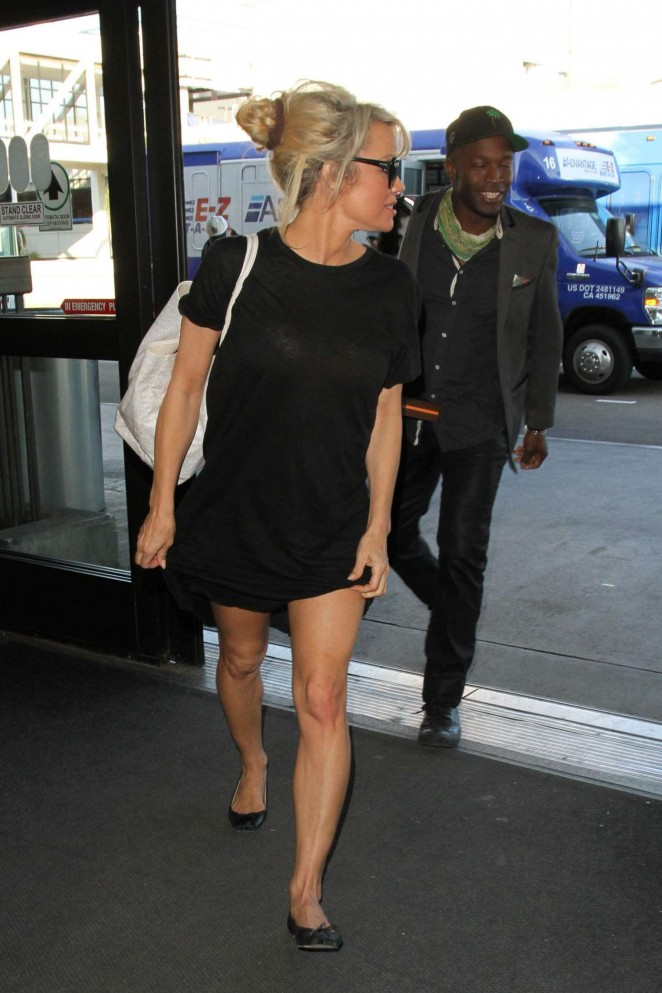 Pamela Anderson is seen at LAX