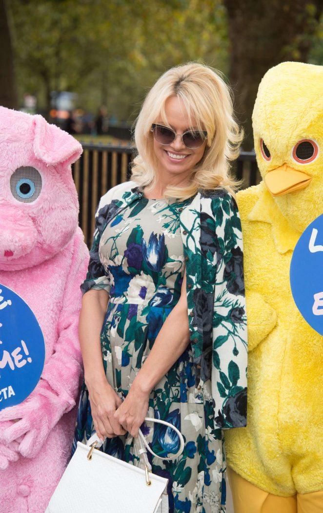 Pamela Anderson Joins PETA to Promote Vegan Food in London